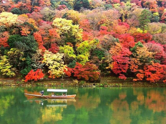 京都嵐山保津川紅葉
