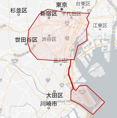 Uberタクシー東京エリア範囲