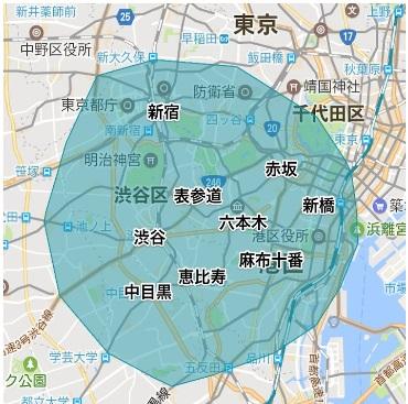 UberEATS東京エリア範囲